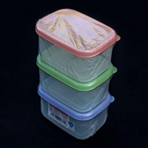 3 stk plastbokser med lokk - 200ml