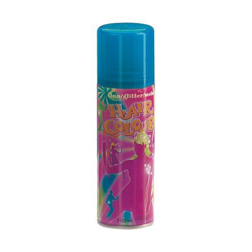 Blå hårspray med fluoriserende farge