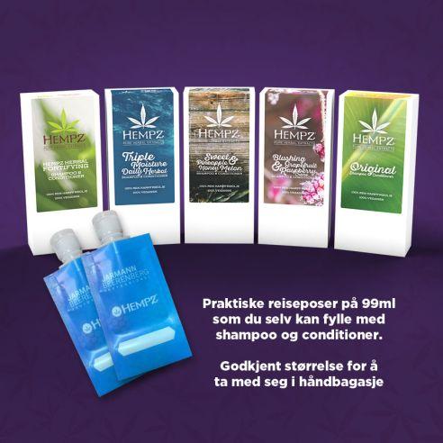 Hempz gaveesker med Shampoo + Conditioner og 2 stk reiseposer